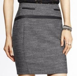 Express faux leather trim skirt